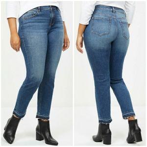 Lane Bryant High Rise Straight Raw Hem Jeans